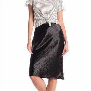 NWT Silky Satin High Rise Black Knee-Length Skirt